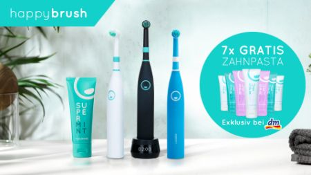 Freebie: happybrush - Gratis Zahnpasta Jahresvorrat