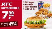 1 Filet Burger + 6 Filet Bites + 1 große Pommes + 1 Softdrink 3 von KFC