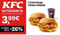 2 Crunch Burger + 1 kleiner Softdrink 19 von KFC