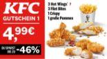 3 Hot Wings + 3 Filet Bites + 1 Crispy + 1 große Pommes 1 von KFC