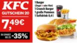 1 Burger + 1 Crunch Burger + 1 große Pommes + 1 Softdrink 20 von KFC