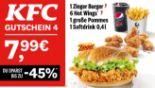 1 Zinger Burger + 6 Hot Wings + 1 große Pommes + 1 Softdrink 4 von KFC