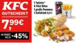 1 Twister + 6 Filet Bites + 1 große Pommes + 1 Softdrink 7 von KFC