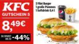 2 Filet Burger + 1 große Pommes + 1 Softdrink 5 von KFC