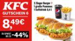 2 Zinger Burger + 1 große Pommes + 1 Softdrink 6 von KFC