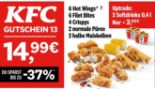 6 Hot Wings + 6 Filet Bites + 4 Crispys 2 + normale Püree + 2 halbe Maiskolben 13 von KFC