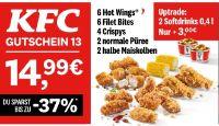 6 Hot Wings + 6 Filet Bites + 4 Crispys 2 + normale Püree + 2 halbe Maiskolben 13 von KFC