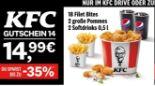 18 Filet Bites + 2 große Pommes + 2 Softdrinks 14 von KFC