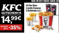 18 Filet Bites + 2 große Pommes + 2 Softdrinks von KFC