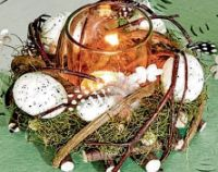 Kerzenglas mit Osterdekoration