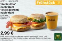 1 McMuffin nach Wahl 1 Heißgetränk nach Wahl 181 von McDonald's