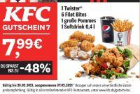 1 Twister + 6 Filet Bites + 1 große Pommes + 1 Softdrink 0.4 l von KFC