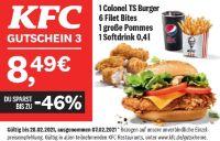 1 Colonel TS Burger 6 Filet Bites 1 große Pommes 1 Softdrink 0,4 l von KFC