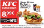 1 Gourmet BBQ Burger 6 Hot Wings 1 große Pommes 1 Softdrink 0,4 l von KFC