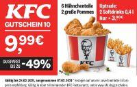 6 Hähnchenteile + 2 große Pommes von KFC
