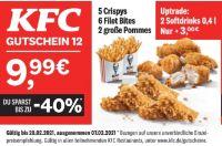 5 Crispys + 6 Filet Bites + 2 große Pommes von KFC