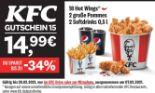 18 Hot Wings + 2 große Pommes + 2 Softdrinks von KFC